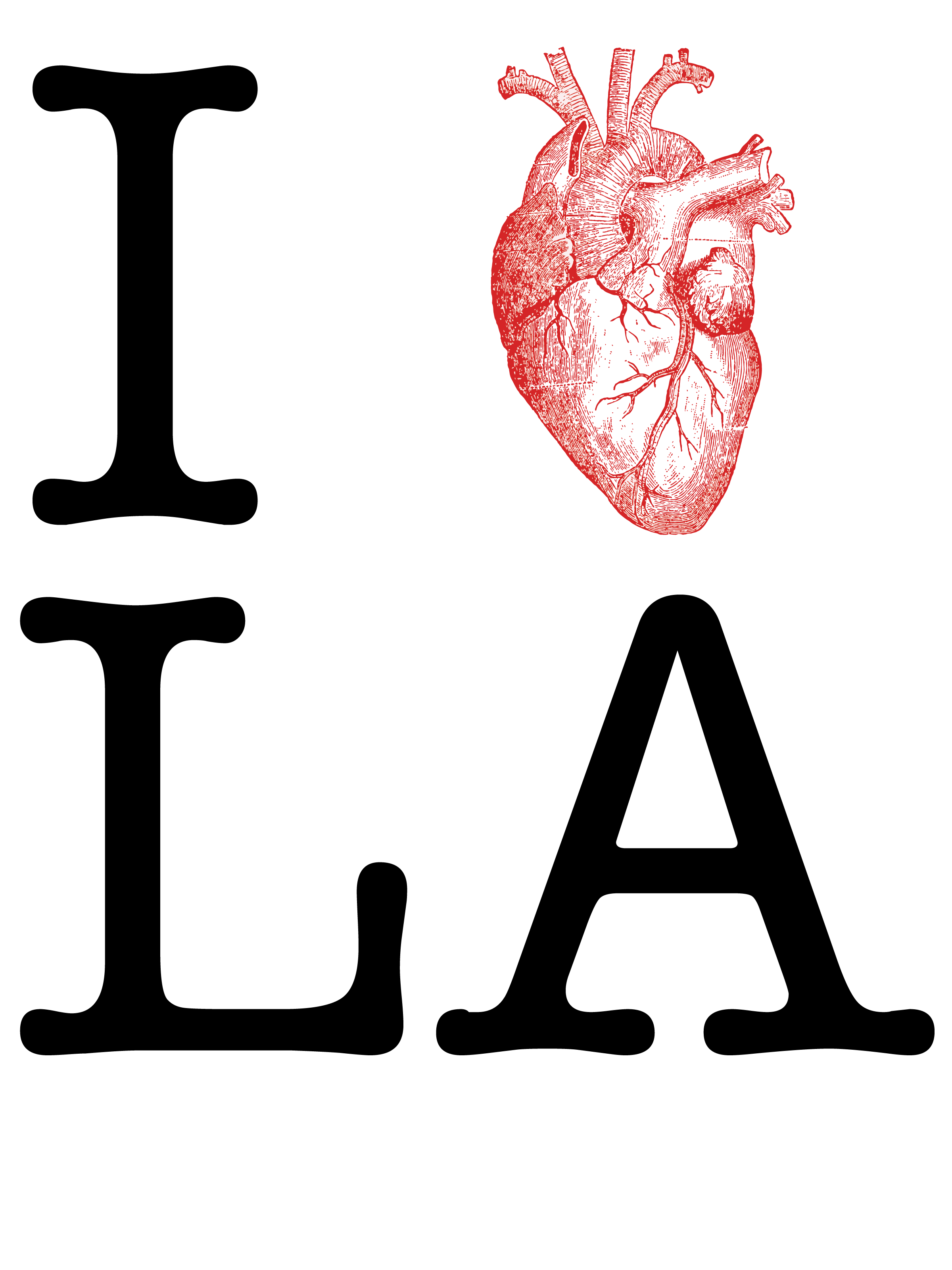 I Heart LA, I Love LA, Los Angeles, heart, I heart LA. Hazel Rider, design, type, typography