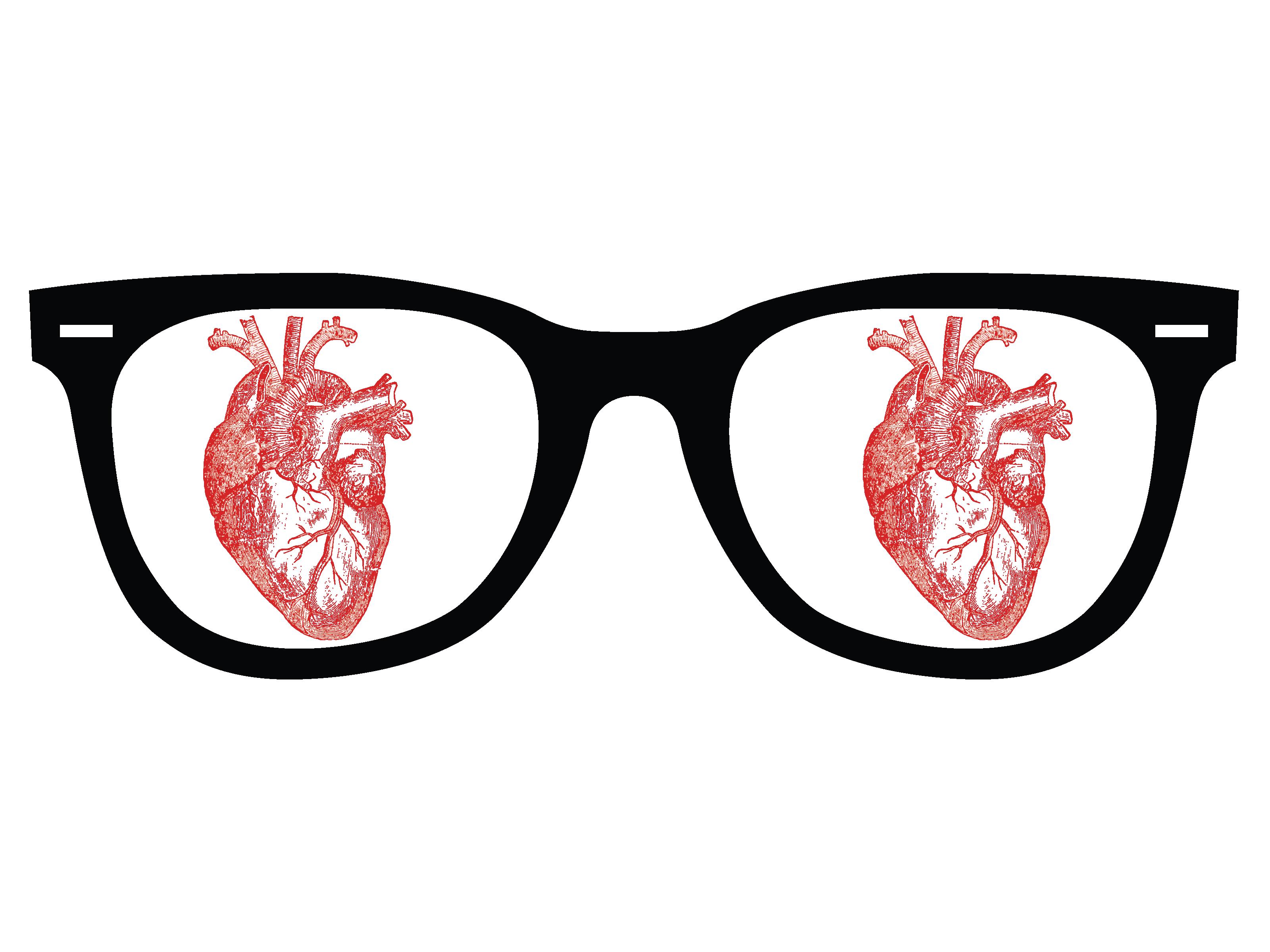 I Heart Glasses, I Love Glasses, glasses, heart, illustrator, vector, design, fun, dark